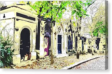 streets of Pere La Chaise cemetary Canvas Print by Corinne Barreca