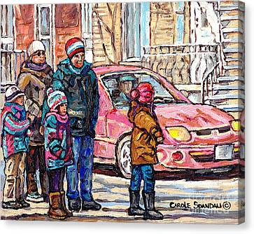 Streets Of Verdun Beautiful Winter Afternoon Family Stroll Canadian Painting Carole Spandau Artist   Canvas Print