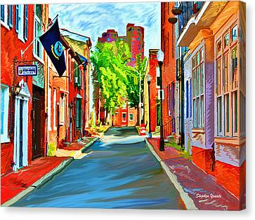 Streetscape In Federal Hill Canvas Print by Stephen Younts