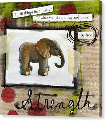 Elephants Canvas Print - Strength by Linda Woods
