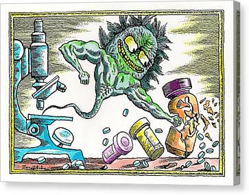 Medication Canvas Print - Strength Of The Virus by Leon Zernitsky