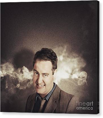 Stressed Businessman With Steaming Hot Headache Canvas Print by Jorgo Photography - Wall Art Gallery
