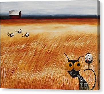 Stressie Cat And Crows In The Hay Fields Canvas Print by Lucia Stewart