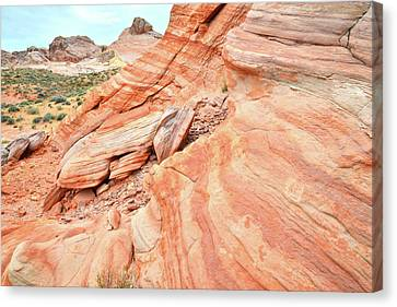 Canvas Print featuring the photograph Striped Sandstone Along Park Road In Valley Of Fire by Ray Mathis