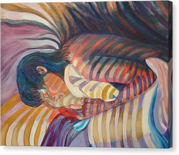 Canvas Print featuring the painting Striped Sheets And Venetian Blinds by Anne Dentler