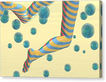Striped Stockings Canvas Print by Carol and Mike Werner