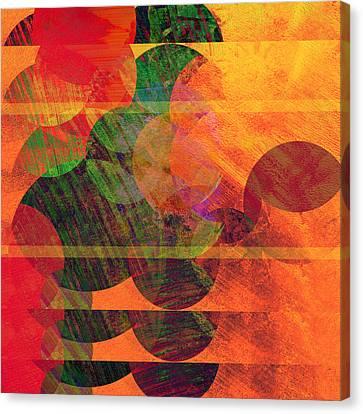 Stripes And Circles Canvas Print by Ann Powell
