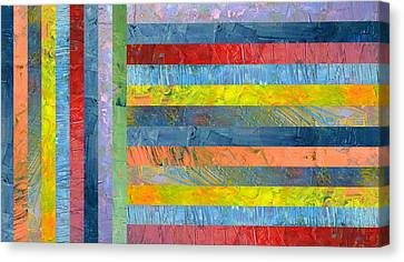 Stripes With Blue And Red Canvas Print by Michelle Calkins