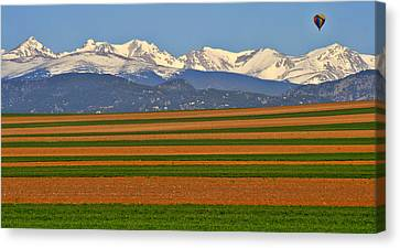 Stripped Fields And Balloon Canvas Print by Scott Mahon
