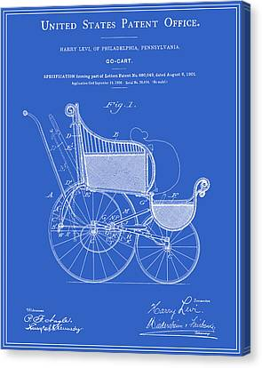 Go Cart Canvas Print - Stroller Patent - Blueprint by Finlay McNevin