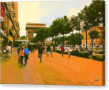 Strollers Along The Champs Elysees Canvas Print
