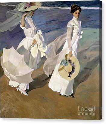 Female Canvas Print - Strolling Along The Seashore by Joaquin Sorolla y Bastida
