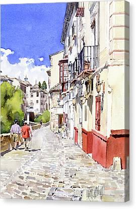 Strolling Alongside The River Darro In Granada Canvas Print