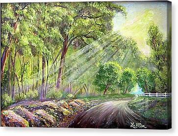 Canvas Print featuring the painting Strolling Down Old Rapidan  by Lee Nixon