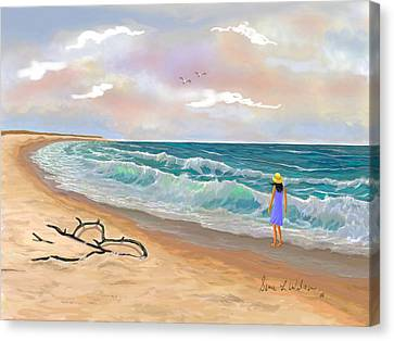 Canvas Print featuring the painting Strolling The Beach by Sena Wilson