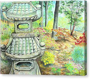 Strolling Through The Japanese Garden Canvas Print