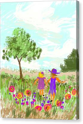 Strolling Thru The Field Canvas Print by Elaine Lanoue
