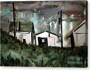 Strom In The Window Framed Matted Glassed Canvas Print