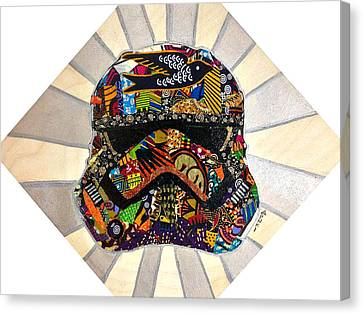 Canvas Print featuring the tapestry - textile Strom Trooper Afrofuturist  by Apanaki Temitayo M
