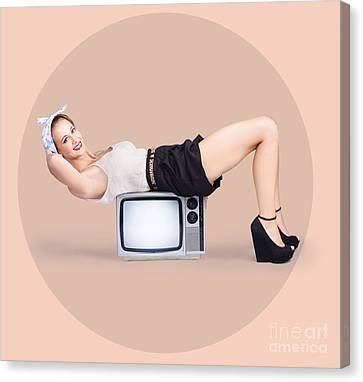 Strong Pinup Girl Doing Fitness Exercises Canvas Print by Jorgo Photography - Wall Art Gallery