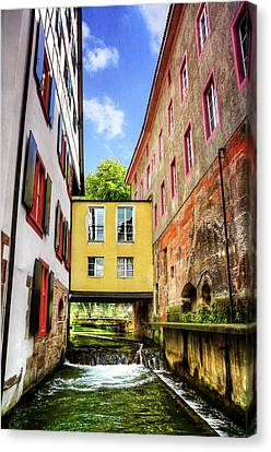 Yellow Building Canvas Print - Stuck In The Middle In Basel Switzerland  by Carol Japp