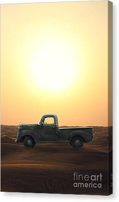 Old Trucks Canvas Print - Stuck In The Sand by Edward Fielding