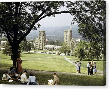 Students Sit On A Hill Overlooking Canvas Print by Volkmar Wentzel