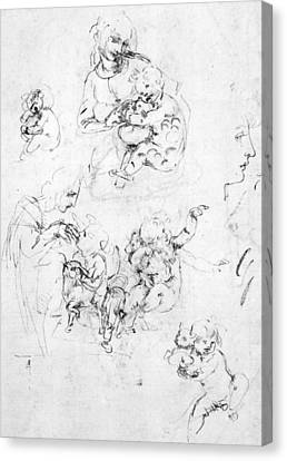 Child Jesus Canvas Print - Studies For A Madonna With A Cat by Leonardo da Vinci