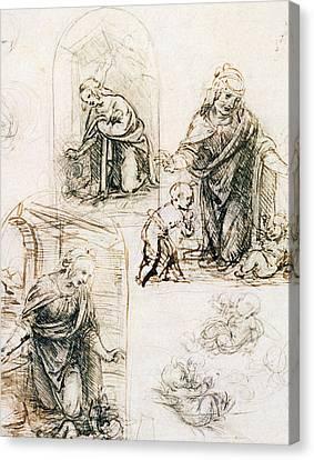 Nativity Canvas Print - Studies For Nativity by Leonardo Da Vinci