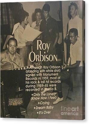 Roy Orbison Canvas Print - Studio B Roy Orbison  by Chuck Kuhn
