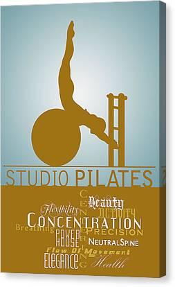 Studio Pilates Blue Gold Canvas Print by ReadyForYoga Online-Shop