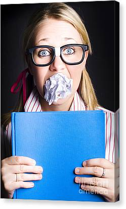 Studious Nerd Student Cramming Before Exams Canvas Print by Jorgo Photography - Wall Art Gallery