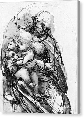 Study For A Madonna With A Cat Canvas Print by Leonardo da Vinci