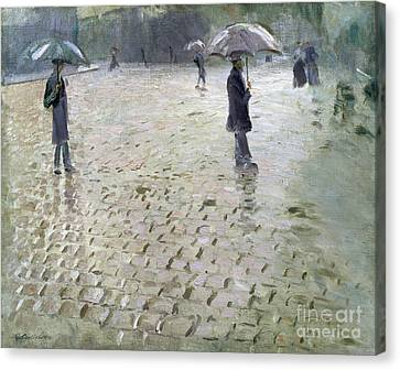 Weathered Canvas Print - Study For A Paris Street Rainy Day by Gustave Caillebotte