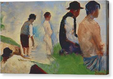 Study For Bathers At Asnieres Canvas Print