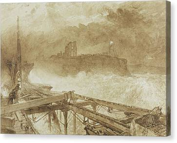 Study For Blue Lights Tynemouth Pier   Lighting The Lamps At Sundown Canvas Print by Alfred William Hunt