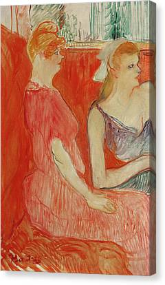 Study For In The Salon On The Rue Des Moulins Canvas Print by Henri de Toulouse-Lautrec