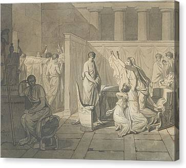Study For The Lictors Bringing Brutus The Bodies Of His Sons Canvas Print by Jacques-Louis David
