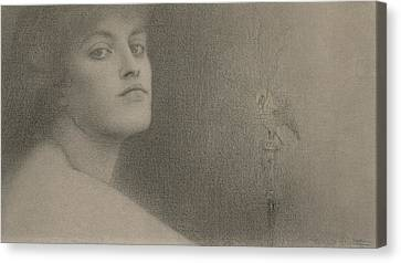 Study For The Offering Canvas Print by Fernand Khnopff