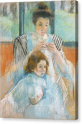Caring Mother Canvas Print - Study For Young Mother Sewing by Mary Stevenson Cassatt