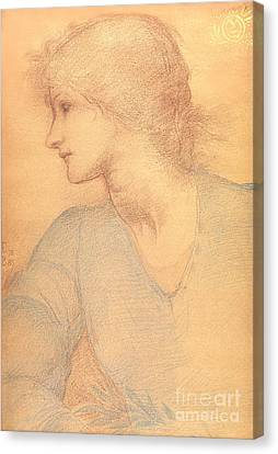 Study In Colored Chalk Canvas Print by Sir Edward Burne-Jones
