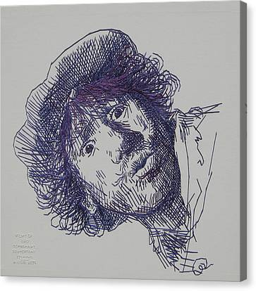 study-in-thread of 1630 Rembrandt self-portrait etching Canvas Print by Barbara Lugge