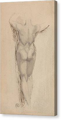 Study Of A Back Of A Female Nude Standing Canvas Print by Henry Fuseli