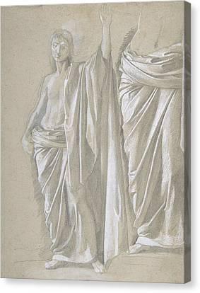 Study Of A Draped Figure Canvas Print by Edgar Degas