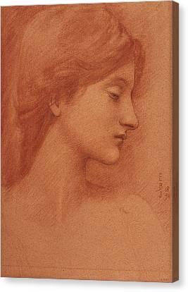 Study Of A Female Head Canvas Print by Edward Burne-Jones