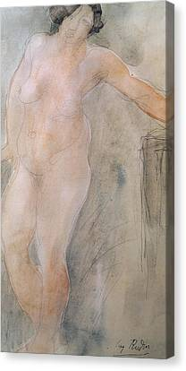 Study Of A Female Nude Canvas Print by Auguste Rodin