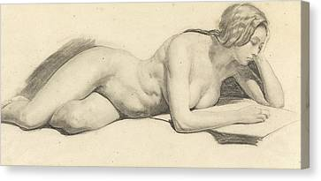 Study Of A Female Nude Reading Canvas Print by Daniel Maclise