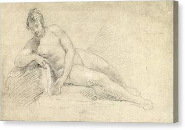 Study Of A Female Nude  Canvas Print by William Hogarth