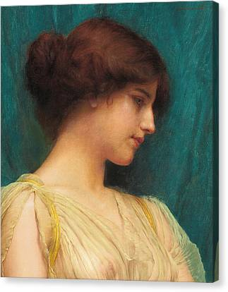 Study Of A Girl's Head Canvas Print by John William Godward