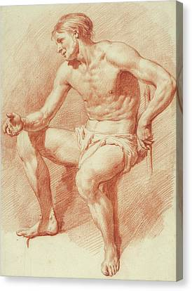Study Of A Male Nude Canvas Print by Adriaen van de Velde